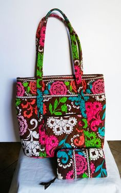 602cb643c9 Vera Bradley Lola Brown Tote Bag With Wallet Retired Purse Shopper Pink  Green  VeraBradley
