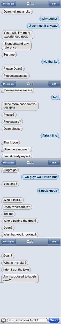 Castiel and Dean texts XP