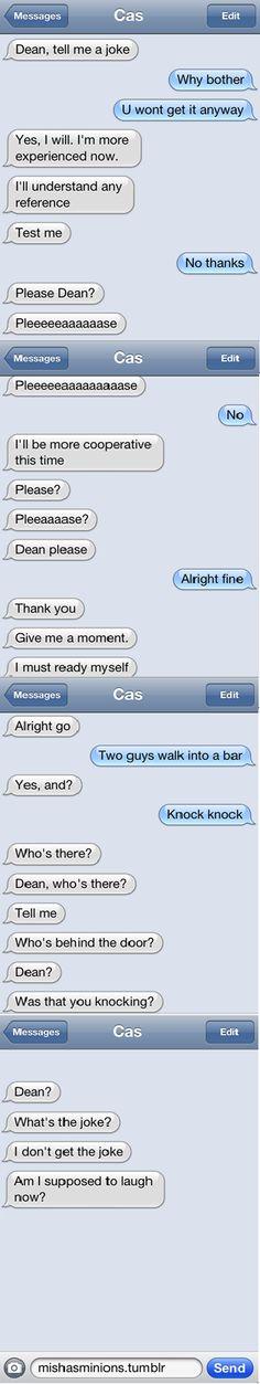 Castiel and Dean texts XP