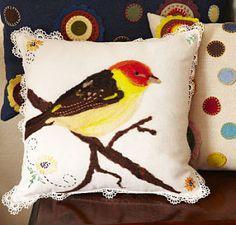 Sweer Bird Pillow by Georgianne Holland, profiled artist on www.ArtsBusinessInstitute.org