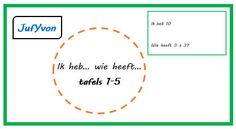 ©JufYvon: Ik heb... wie heeft...? - tafels 1-5 Spelling, Chart, Teaching, Education, Math, Om, School, Stage, Kids
