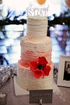 Textured Watercolor Wedding Cake with Sugar Poppy and Pearls
