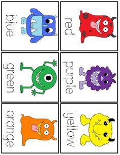 Print and laminate the monster cards. Set 1: Use a clothespin to select the matching colored circle Set 2: Use a dry erase marker to trace the color word. FREE on my TPT