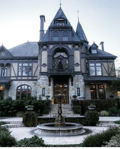 Old house black Gothic ornaments Beautiful Architecture, Beautiful Buildings, Beautiful Homes, Architecture Design, Gothic Mansion, Gothic House, Future House, My House, Goth Home