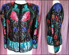 FLORAL Beaded jacket / fits M / Vintage Sequin Jacket / 80s Sequin Beaded Jacket / Beaded Nipped Waist Jacket / Beaded Silk jacket by OGOvintage on Etsy