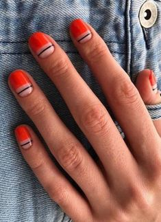 jolies manucures à adopter cet automne - jolies manucures à adopter cet automne - - CLASSIC FRENCH - Simple Nails - 139 the stunning summer nail art designs for short nails page 59 Cute Nails, Pretty Nails, My Nails, Minimalist Nails, Nail Design Glitter, Nails Design, Salon Design, Manicure Gel, Fall Manicure