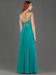 Φόρεμα μακρύ βραδινό με δαντέλα και κέντημα στο μπούστο - Βραδυνά Φορέματα