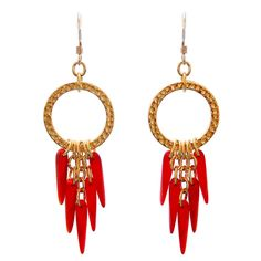 Red Daggers with Ring Gold Earrings