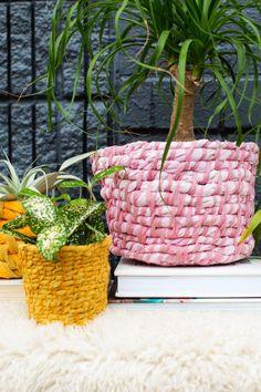 Easy Fabric Planter DIY / via A Beautiful Mess