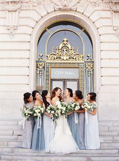 Dusty blue mix and match bridesmaids: http://www.stylemepretty.com/2016/09/15/elegant-san-francisco-city-hall-wedding/ Photography: Caroline Tran - http://carolinetran.net/ More