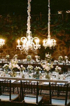 low hanging chandeliers wedding decor ideas / http://www.deerpearlflowers.com/romantic-wedding-lightning-ideas/
