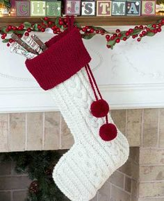 knitted christmas stockings in white and red colors