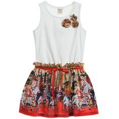 White Cotton Dress with Carousal Printed Skirt , Jottum, Girl