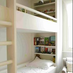Built in bunk beds. via http://remodelista.com/posts/childrens-rooms-the-family-at-home-by-anita-kaushal