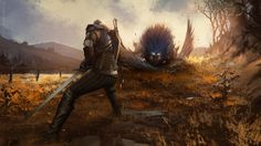 Download Geralt of Rivia Fighting Monster Art the Witcher 3 2560x1440