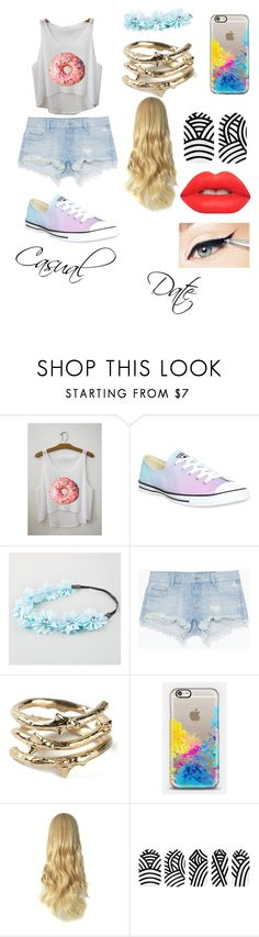 """""""Casual Date"""" by datfashionguru ❤ liked on Polyvore featuring Converse, Full Tilt, Zara, Aurélie Bidermann, Casetify and Lime Crime"""