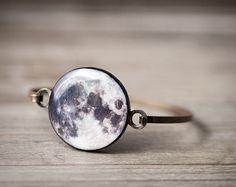 Full Moon bracelet - Full Moon jewelry - Space bracelet - Bangle bracelet…