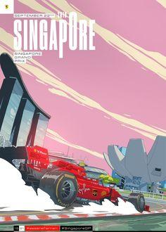 Scuderia Ferrari - Singapore Grand Prix cover art by Giacomo Bevilacqua Singapore Grand Prix, Ferrari F1, Car Posters, Under The Lights, Go Kart, Formula One, Cover Art, Race Cars, Sport Cars
