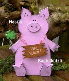Glücksschweinchen Dörte aus Holz von Hasi´s Bastelbützli auf DaWanda.com