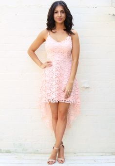 Strappy Guipure Lace Dipped Hem Dress in Soft Pink