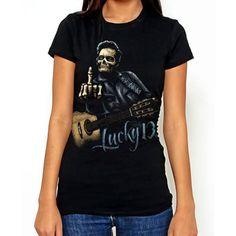 Lucky 13 Black Bird Ladies Girlfriend Tshirt