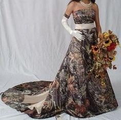 camo wedding dresses | BRAND NEW mossy oak (camo)satin wedding dress size 14 - US$ 463.59
