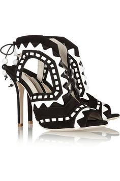 Sophia Webstercutout patent leather and suede sandals