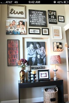 front entryway decorating ideas for your home (or living rm gallery wall? Front Entryway Decor, Entry Wall, Entryway Ideas, Hallway Ideas, Entrance Ideas, Wall Décor, Entry Nook, Hallway Table Decor, Stairwell Wall