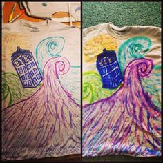 Sharpie tie dye of the Tardis.    Just put a design on a T-shirt with sharpie (with cardboard between the front and back, then spray it with rubbing alcohol, dry it with a blow dryer, and put it in the dryer!  And this is the awesome result!