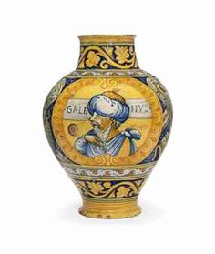 A faenza pharmacy jar, C. 1545. I like the scrolled leaves on this.