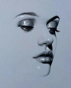 Portrait of Realistic Woman from Iraqi Painter Husam Wleed Graphite Drawings, Pencil Art Drawings, Realistic Drawings, Art Drawings Sketches, Cool Drawings, Drawing Art, Chalk Pastel Art, Chalk Pastels, Portrait Art