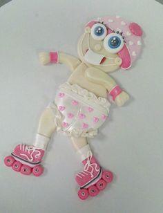 Baby in Roller Skates Cake Topper