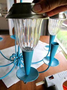 backyard Hot glue solar lights onto candle holders for outdoor chandelier * * * * * * for more information on the project. Solar Light Chandelier, Outdoor Chandelier, Solar Lights, Chandelier Lighting, Outdoor Lighting, Outdoor Decor, Chandelier Ideas, Lighting Ideas, Garage Lighting