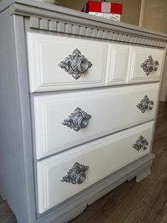 Knob view! Love the silver sprayed knobs with the Rustoleum Aged Gray chalk paint. Brought an 80's small bureau/dresser to an upcycled chic contemporary piece. Love it!! ChicandShabbyFurnitureByRebecca