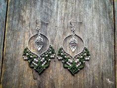 Micro macrame Big gypsy elven leaf earrings silver tone bohemian boho jewelry by Creations Mariposa