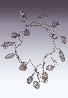 Necklace | Biba Schutz. 'Vine', 1999.  Sterling and fine silver