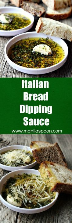 Restaurant-style olive oil dipping sauce with Italian herbs and balsamic vinegar perfect for dipping your favorite crusty bread. Mix it up with your favorite herbs and add a spicy kick to create your own flavor blend. Italian Bread Dipping Oil (Sauce) - Appetizer, Game Day, holiday| http://manilaspoon.com