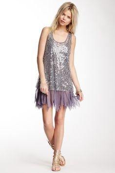 Free People Shiny Sequin Mesh Dress on HauteLook - a little longer and in gold, it'd be perfect!