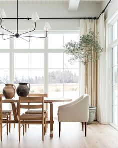 Project Plants: Most-Loved Greenery Roundup Inspiration Design, Dining Room Inspiration, Studio Mcgee, Dining Nook, Dining Room Design, Woven Dining Chairs, Woven Chair, Dining Room Curtains, Dining Room Windows