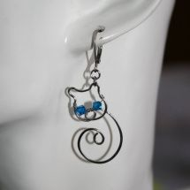 Náušnice - Kočka modroočka - chirurgická ocel