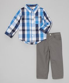 Take a look at this Blue & Gray Plaid Button-Up & Pants - Infant & Toddler by Peanut Buttons on #zulily today!