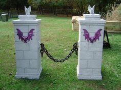 Halloween pillars made from foam board