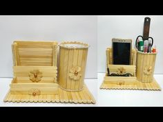 easy pen stand and mobile phone holder with popsicle stick | ice cream stick craft | 2020 - YouTube Pop Stick Craft, Ice Cream Stick Craft, Ice Cream Crafts, Diy Popsicle Stick Crafts, Popsicle Sticks, Cute Diy Room Decor, Diy Crafts For Home Decor, Diy Arts And Crafts, Craft Stick Projects