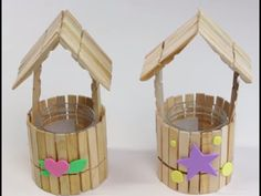 Diy Popsicle Stick Crafts, Popsicle Stick Houses, Kids Crafts, Ice Cream Stick Craft, Bible School Crafts, Pop Stick, Wishing Well, Diy Doll, Diy Gifts