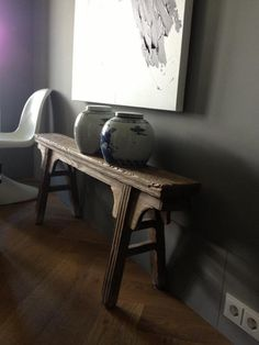 Detail, Panton chair and contemporary art offset with antiques