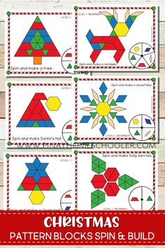 Pattern Blocks Create Christmas symbols and icons with pattern blocksCreate Christmas symbols and icons with pattern blocks Holiday Themes, Holiday Activities, Christmas Themes, Preschool Activities, Christmas Crafts, Christmas Maths, Christmas Holidays, Tangram, Theme Noel