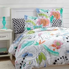 Painted Palm Duvet Cover + Sham - love this one....play up the black, white, and aqua!