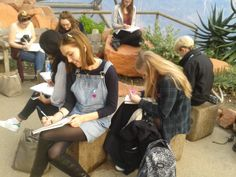 FAD students drawing at the Eden project on our Cornwall residential in October 2015
