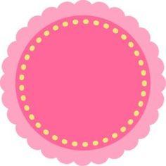 Étiquette ronde, rose et jaune girly.