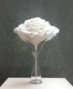 HANA. White Large Rose    www.kaminohana.com